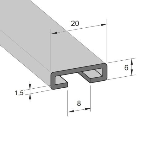 Aluminiums skinne 20/17mm