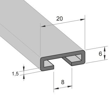 Aluminiums skinne 17/8mm