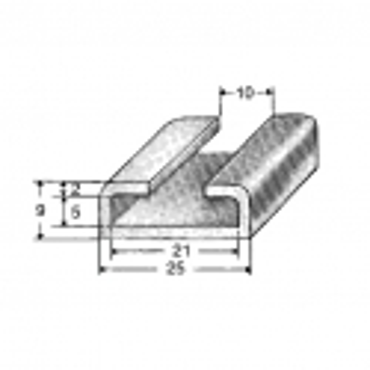Aluminiums skinne 21/10mm