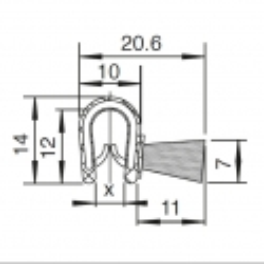 Kantliste 1,5-3,5mm m. sidebørster