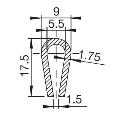 U-Profil 5.5mm afrundet Gummi