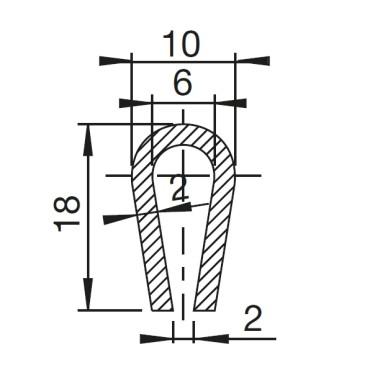 U-Profil 6mm afrundet Gummi