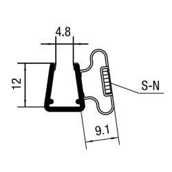 Bruseprofil 90° magnetisk dørprofil