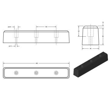 Gummibuffer 450x80x90mm for læsserampe