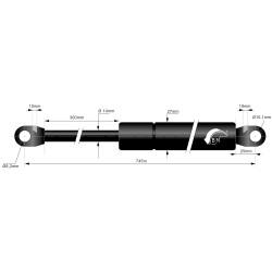 Gasfjeder 300mm 14/27mm