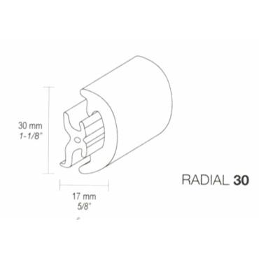 Fenderliste RADIAL 30mm Hvid