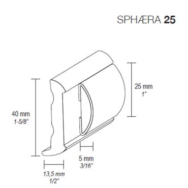 Sphæra 25mm fenderliste Rustfri