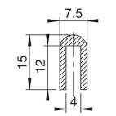 U-Profil 4mm afrundet Gummi