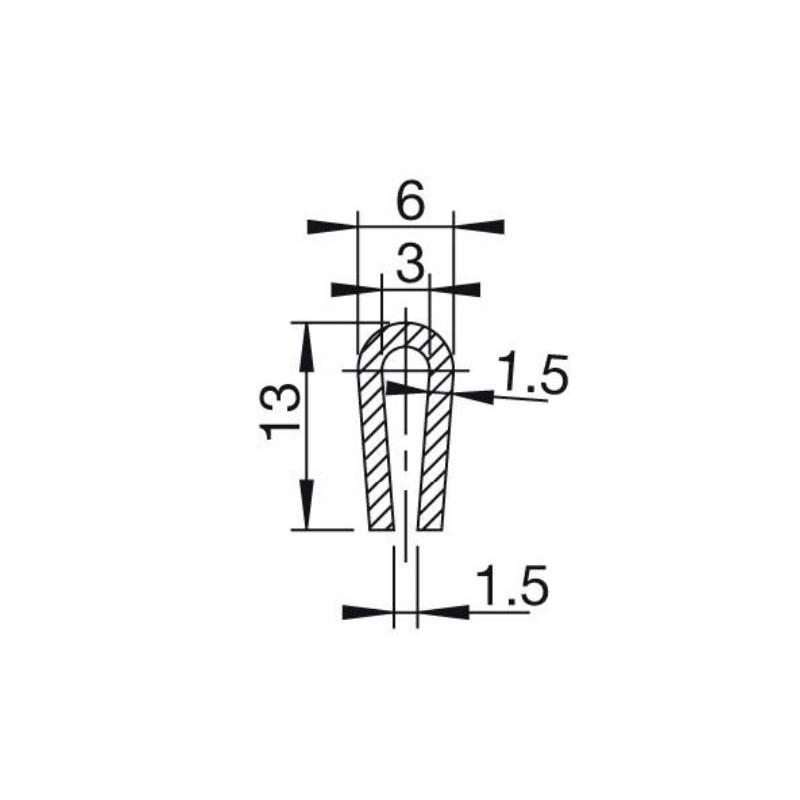Fabulous U-Profil 3mm afrundet EPDM | Beskyt dine kanter med en uprofil ! YU68