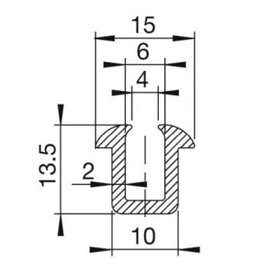 U-Profil 6mm m.hager Gummi