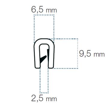Kantliste Sølv 1,5-2,5mm PVC