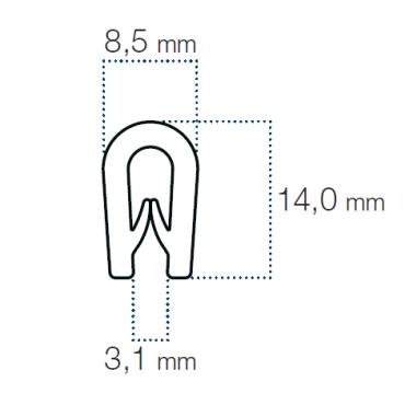 Kantliste Grå 2,5-3mm PVC