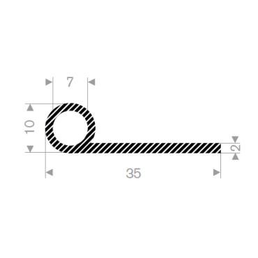 P-Profil Svampegummi 35mm ø10mm