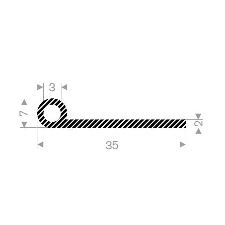 P-Profil Svampegummi 35mm ø7mm